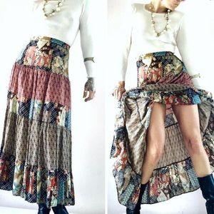 Vintage ruffle 1970's tiered boho maxi skirt